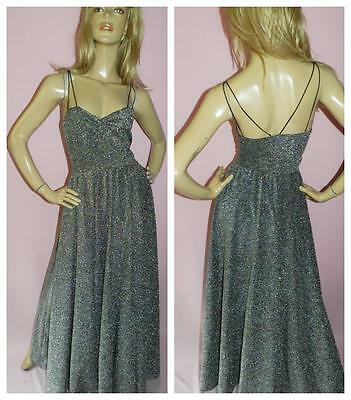 VINTAGE 70s SILVER GLITTER LUREX MAXI EVENING DRESS 10-12 1970s EVENING GLAMOUR