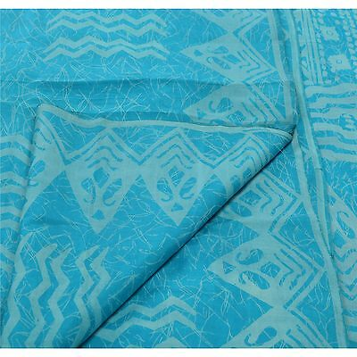 Sanskriti Antique Vintage 100% Pure Silk Saree Blue Floral Printed Sari Craft