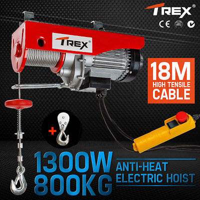 T-REX Electric Hoist Winch 800KG 1300W Cable Lift 240V Remote Chain Lifting Rope