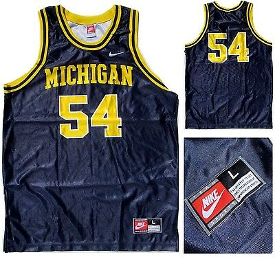 Mens Nike Michigan Wolverines 54 Basketball sleeveless T shirt Top Jersey Large