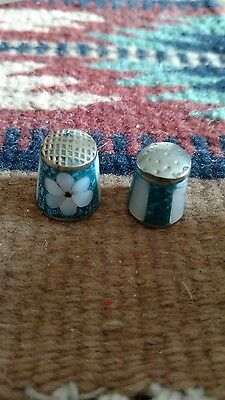 Vintage thimble teal/flower/stripes homemade Native American