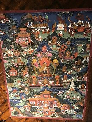 Vintage Tibet Buddhist Buddha PAINTING on cloth Tara Thangka Artwork