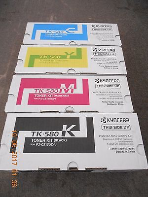x1 Full Set Of New & Original Kyocera TK-580 Toner Kits (FS-C5150DN) (CMYK)