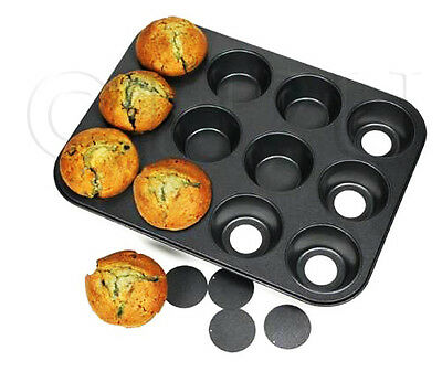 12 Cup Loose Muffin Baking Tin Tray Removable Base Graphite Moulds Molds Bake