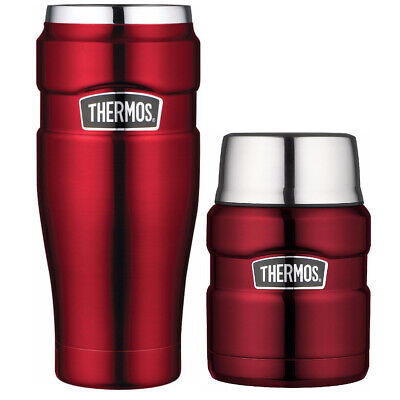 Thermos Stainless King Vacuum Insulated 16oz Tumbler and 24oz Food Jar Bundle
