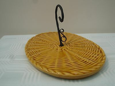 Vintage Retro French Ceramic Cheese Board. With Scroll Handle