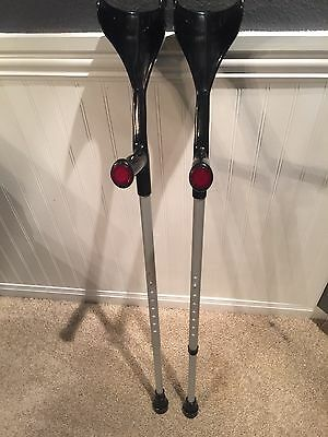 Soles Forearm Crutches Pair Black Preowned