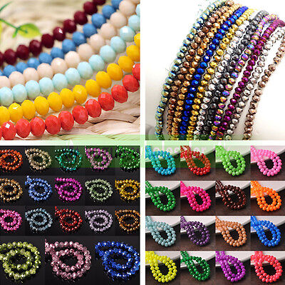 Wholesale Rondelle Faceted Crystal Glass Loose Spacer Beads Finding 3/4/6/8/10mm