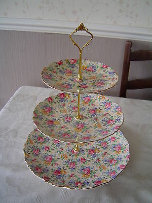 Vintage Old Foley Chintz - Large 3 Tier Cake Stand