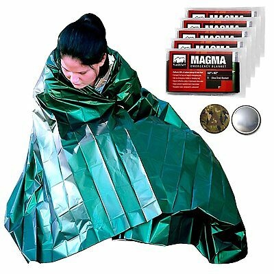 MAGMA Emergency Mylar Survival Blankets 5 Pack - Olive Drab & Reflective, to - +