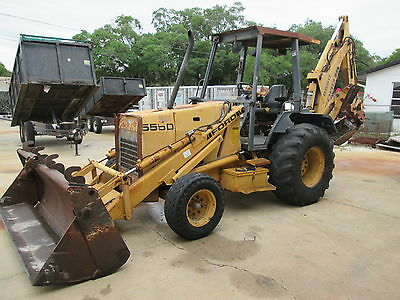 Ford 555D Loader Backhoe, 4 In 1 Front Bucket, Extend-A-Hoe, With Ajusta-Buckets