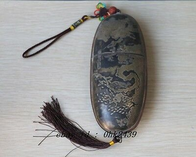 Collections chinese handwork carved bronze glasses case old box