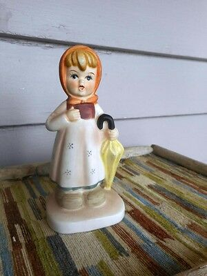 Vintage Flambro Collectors Choice Series Girl Carrying Umbrella Spring Showers