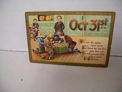 Antique Halloween Post Card Printed in Germany, Kids Dunking for Apples