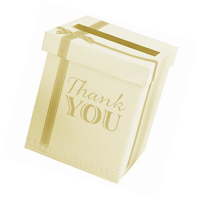 Chic Boutique Wedding Card Thank You Post Box Ivory & Gold