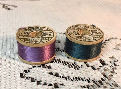 Buttonhole Twist Wood Silk Thread Spools Plus Lot Of Spools In Vintage Case