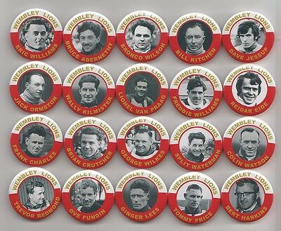 WEMBLEY LIONS SPEEDWAY EX-RIDERS SET 1 BADGES X20  38mm IN SIZE