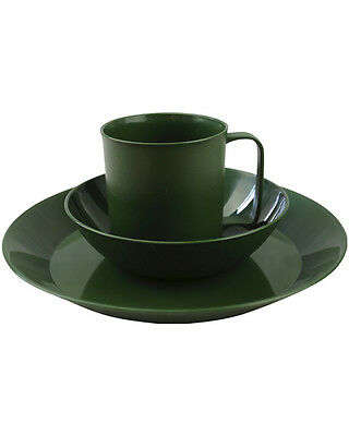 CADET CAMP Green  PLASTIC PLATE BOWL & MUG ARMY STYLE LIGHT WEIGHT DURABLE