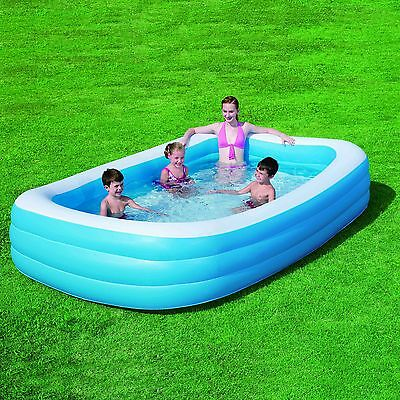 Bestway Large Deluxe Rectangular Inflatable Swimming Pool Family Paddling 1161L