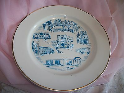 """19960's Fork Union Military Academy Plate 9 1/4"""" Pictures 6 Buildings Gold Trim"""