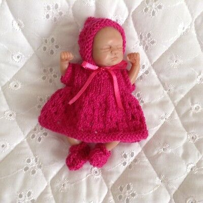 hand knitted dolls clothes fit 4ins ooak baby