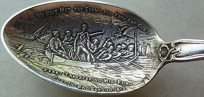 e1900's WATSON STERLING SILVER spoon PUT-IN-BAY PERRY TRANSFERRING HIS FLAG 1813
