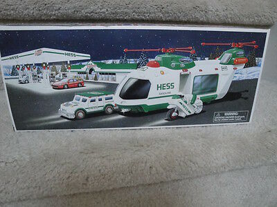 "MIB 2001 Hess Helicopter With Motorcycle & Cruiser  Battery Operated ""WOW"""