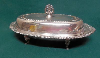 Vintage Silver Plate Butter Dish With Glass Liner