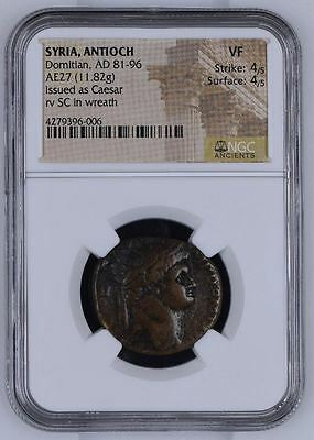 "NGC Large Roman Bronze AE27, Emperor DOMITIAN As Caesar, Large SC, Graded ""VF"""