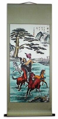 NEW Large 6' Feet Hand Painted Horses Chinese Scroll Art Rice Paper Light Green