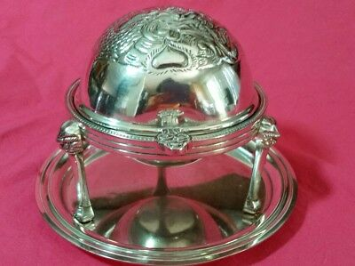WNK Silverplate  Footed Round Bowl Roll Top Domed Butter Dish W/under plate