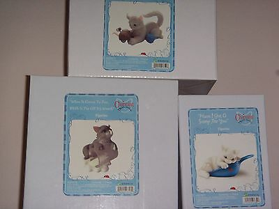 Lot of 3 Charming Purrsonalities Kitten Figurines Cats by Enesco New in box