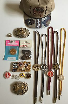 Collection Of Calgary Stampede Western Rodeo Items Buckles, Bolos, Pins, Etc.