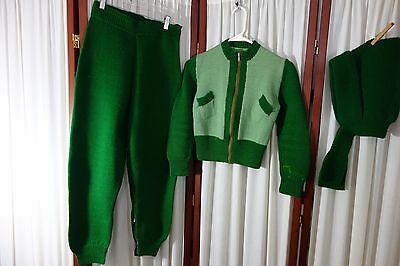 1940's Girl's Ski Outfit-L- Hand Knit Green Wool- Sweater,Pants,Hat- RARE