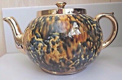 Vintage Abstract Gibson 4 cup Tea Pot England spatter Earthenware Gold Gilt