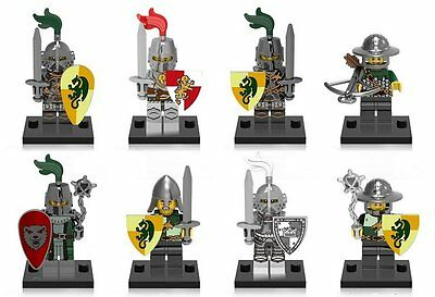 8 Sets Armored Knights Figures Helmet Shield Castle Game of Thrones Bricks Toys