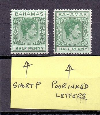 Bahamas. 1/2d lightly hinged mint KG6 stamps with faults. See scan