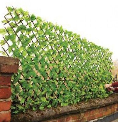 Artificial  Leaf Covered  Expanding Trellis Garden Fence Screening 2m X 1 Tall