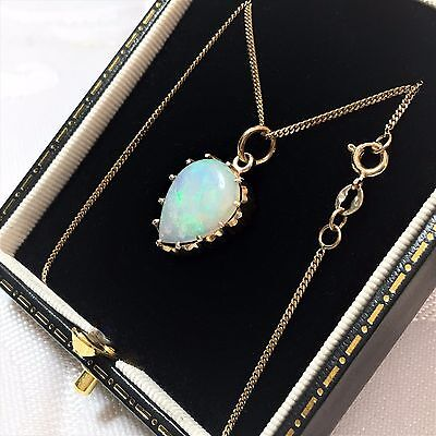 "Fine 15ct Gold Solid Opal Natural Necklace Fiery Quality 10ct Quality 18"" Chain"