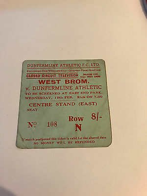 Dunfermline v West Bromwich Ticket European Cup Winners Cup Closed Circuit 1969