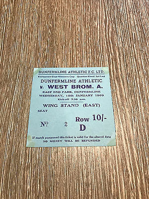 Dunfermline v West Bromwich Ticket 1969 European Cup Winners Cup  Very Rare Item