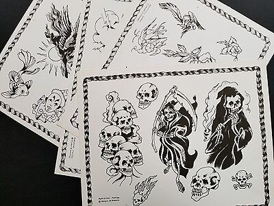 vintage portocall reaper girl dragon skull production tattoo flash, 4 NOS sheets
