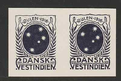 Test print pair 1916 Danish West Indies Christmas seal (last one issued) - Mint