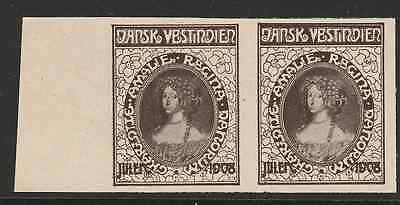 Test print 1908 pair Danish West Indies with no blue colour - Mint very rare
