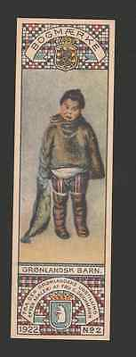 Greenland Bookmark 1922 support of schoolwork for the Innuit - Unused