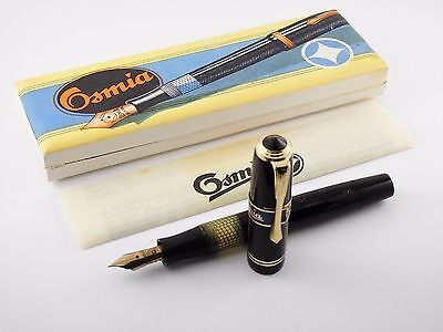 "Vintage ""Osmia 64"" Fountain Pen-Black Piston Filler-Box & Papers-Germany 1930s"