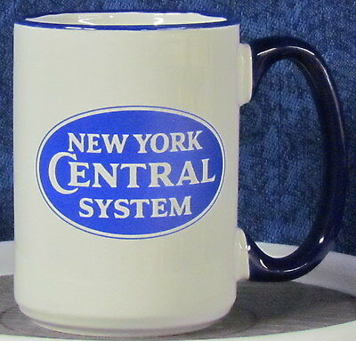 New York Central System Railroad Oval Blue Double Logo on a 15 oz Coffee Mug