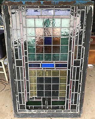 "Antique leaded stained glass window 51 3/4"" x 34 1/4"""
