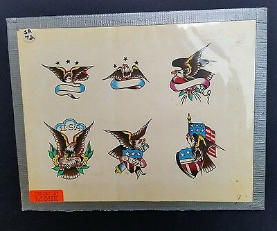 vintage eagle S&R spaulding rogers eagle usa tattoo flash hand colored by monk