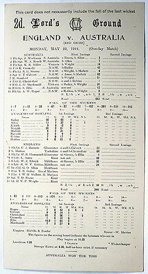 ENG v AUST LORD'S, MAY 1944 WARTIME ONE DAY SCORECARD